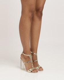 PLUM Leonore Block Heel T-Bar Sandals Gold