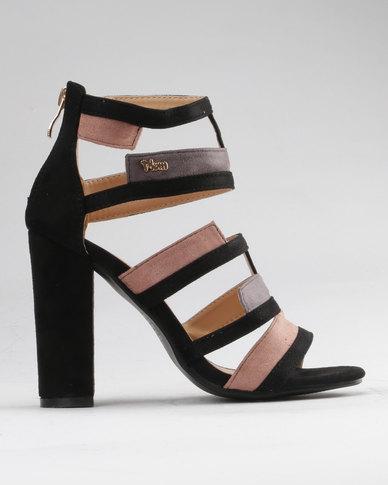 6c864ff5402 PLUM Menik Combo Multi Strap Block Heels with Colour Blocking Black ...