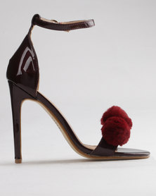 PLUM Branwen High Heeled Sandals With Ankle Strap And Pom Pom Detail Burgundy