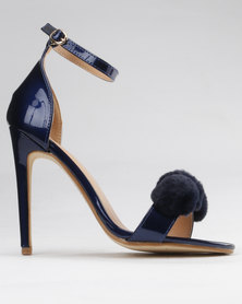 PLUM Branwen High Heeled Sandal With Ankle Strap And Pom Pom Detail Navy