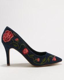 PLUM Kalie Denim Embroidered High Heel Court Shoe Dark Blue Denim