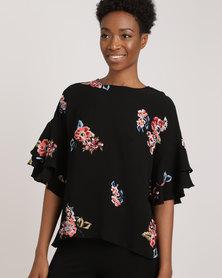AX Paris Frill Sleeved Top Black