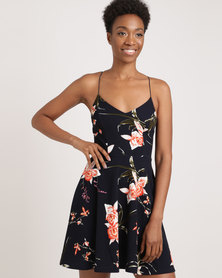 AX Paris Floral Strappy Skater Navy