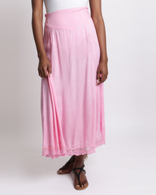 UB Creative Embroidery Net Detail Long Skirt Pink