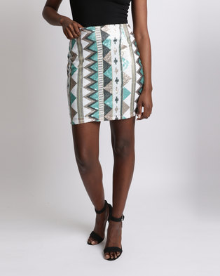 UB Creative Aztec Sequin Mini Skirt Blue Gold Multi