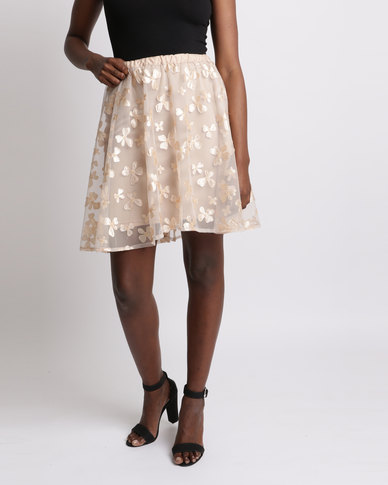 UB Creative Floral Mesh Skirt Beige