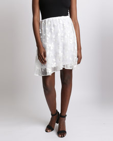 UB Creative Floral Mesh Skirt White