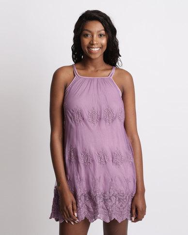 UB Creative Embroidered Mesh Mini Strap Dress Purple
