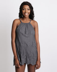 UB Creative Embroidered Mesh Mini Strap Dress Grey