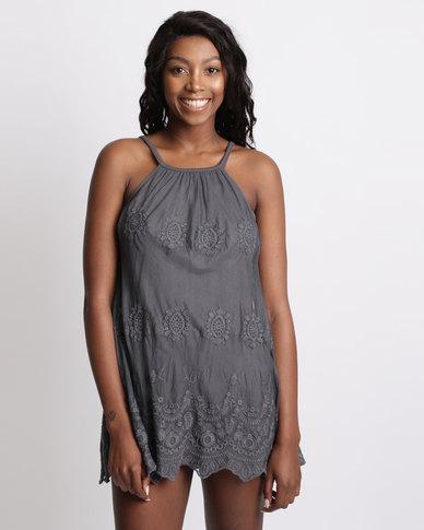 UB Creative Embroidered Mesh Mini Strap Dress Grey