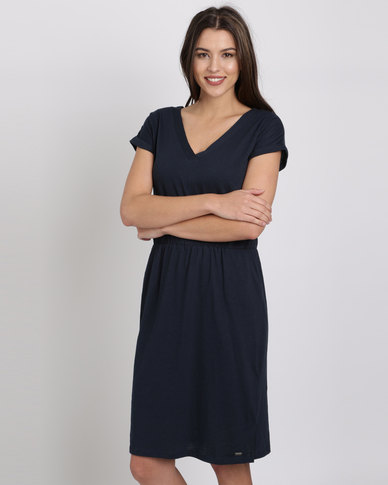 92b261906791 Jeep Cotton Slub T-Shirt Dress Navy | Zando