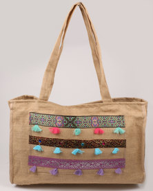 UB Creative Tassels Beach Bag Beige