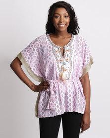 UB Creative Lace Kaftan Blouse Gold Trim Pink