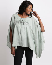 UB Creative Open Shoulder Cotton Waterfall Top Green