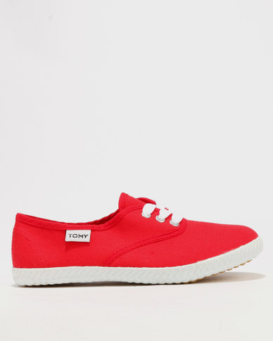 Tomy Takkies Original Lace Up Red