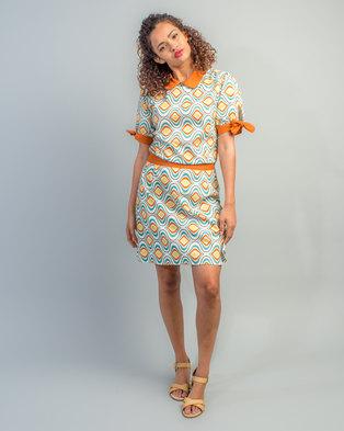 f7ad8c48f48 HASHTAG SELFIE 60 s Babydoll Collar Print Dress Green
