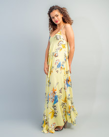 HASHTAG SELFIE Flowy Tropical Print Dress Yellow