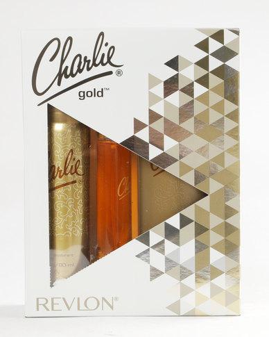 DISC Revlon Charlie Gold 27ml EDT Spray / 90ml Perfumed Body Spray / 250ml Perfumed Body Lotion