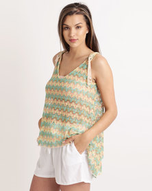 UB Creative Bead Lace Top Green Multi