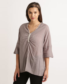 UB Creative Cotton Beaded Blouse Grey