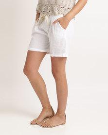 UB Creative Linen Shorts White