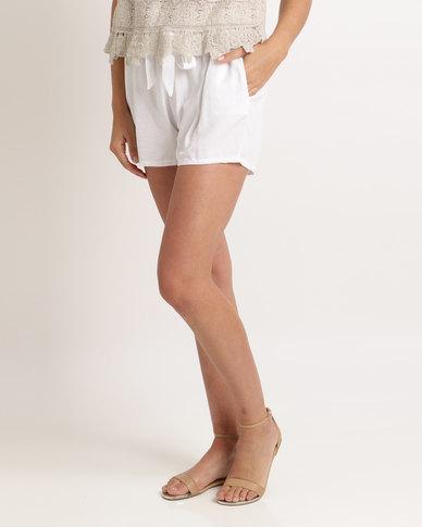 UB Creative Cotton Tie Shorts White
