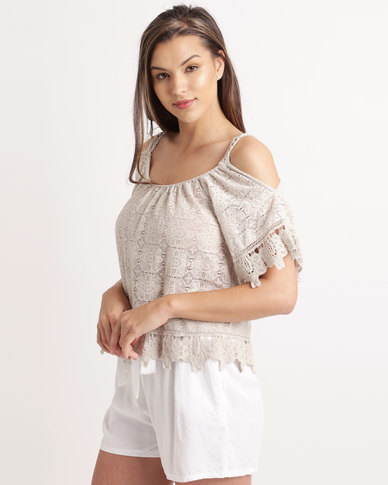 UB Creative Open Shoulder Crochet Lace Top Stone