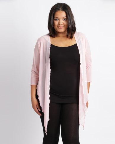 Queenspark Plus New Mesh Knit Bolero Jacket Pink