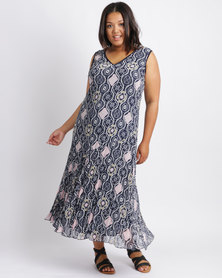 Queenspark Plus New Printed Crushed Woven Dress Navy