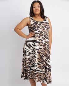 Queenspark Plus Tiger Printed Knit Dress Natural