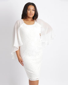 Queenspark Plus New Lace Beaded Dynasty Dress White