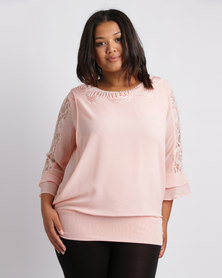 Queenspark Plus Beaded And Cornelli Woven Blouse Pink