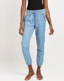 Miss Cassidy Denim Woven Jogger Trousers Blue