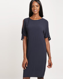 Miss Cassidy Tie Sleeve Woven Dress Navy