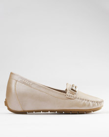 Bata Comfit Moccasin Shoes Gold