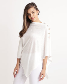 Blu Spiral Buttons Poncho Winter White