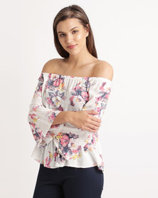 Blu Spiral Elasticated Off Shoulder Top Pink Floral