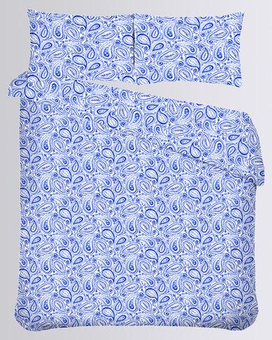 43 Romatex Microfibre Duvet Cover Set Paisley Blue
