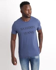 Sassoon Short Sleeve Embroidered T-Shirt Navy