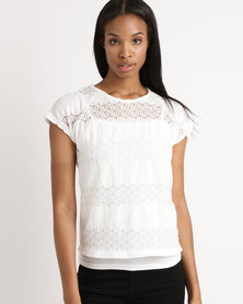 Queenspark Lace Look Woven Blouse White