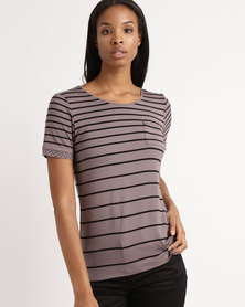 Queenspark Short Sleeve Variegated Stripe Core Knit Top Taupe