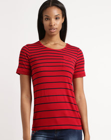 Queenspark Short Sleeve Variegated Stripe Core Knit Top Red