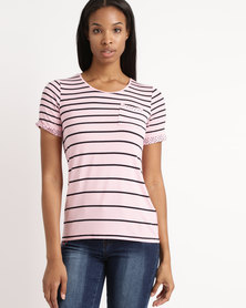 Queenspark Short Sleeve Variegated Stripe Core Knit Top Pink