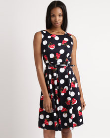 Queenspark Multi Spot Design Woven Dress Navy