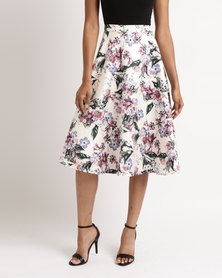 Queenspark Pretty Floral Print Woven Skirt Multicoloured