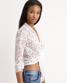 Queenspark Flower Design Burnout Mesh Cover Up Jacket White