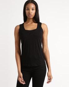 Queenspark Core Cami Sleevless Knit Top Black