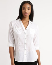 Queenspark Long Sleeve Roll Up Cotton Voile Shirt White