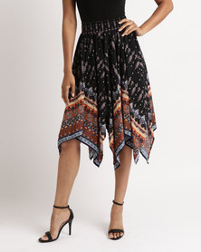 Queenspark Hanky Shaped Printed Woven Skirt Black
