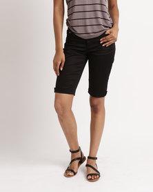 Queenspark Turn Up Hem Woven Shorts Black
